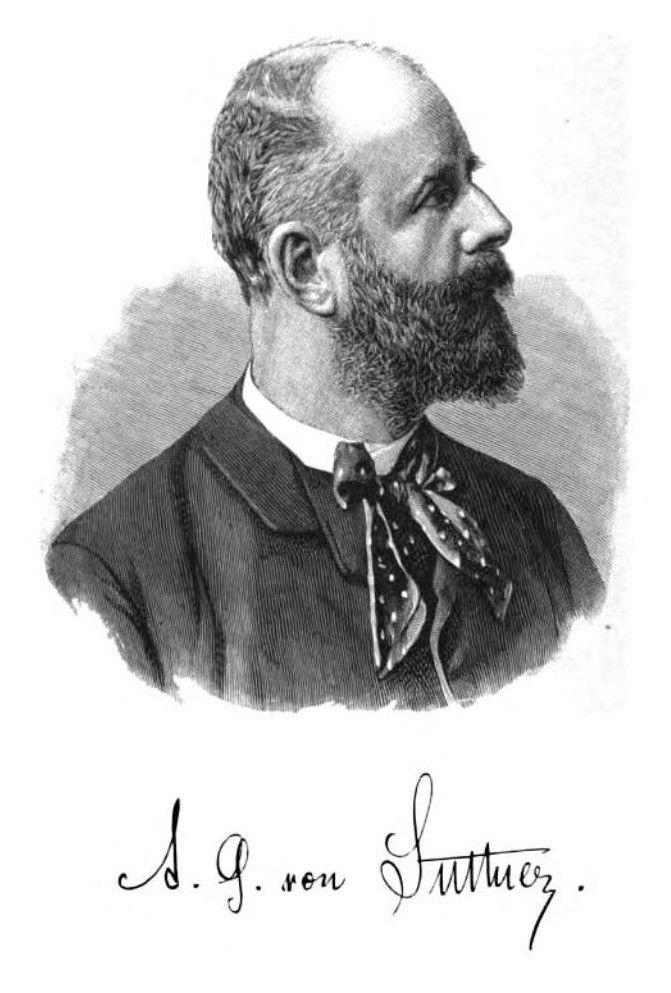 Retrato de Arthur von Suttner, posiblemente en 1887. Fue novelista y fundó una Asociación para evitar el antisemitismo en Alemania y en Austria