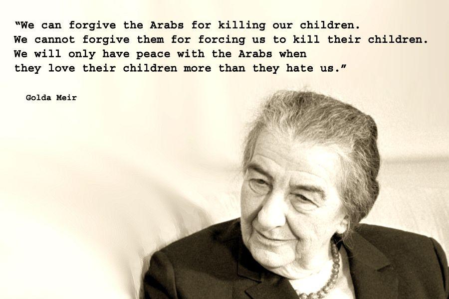 Estremecedoras frases de una Golda Meir, madre y responsable política. Crédito: Ennya 2000