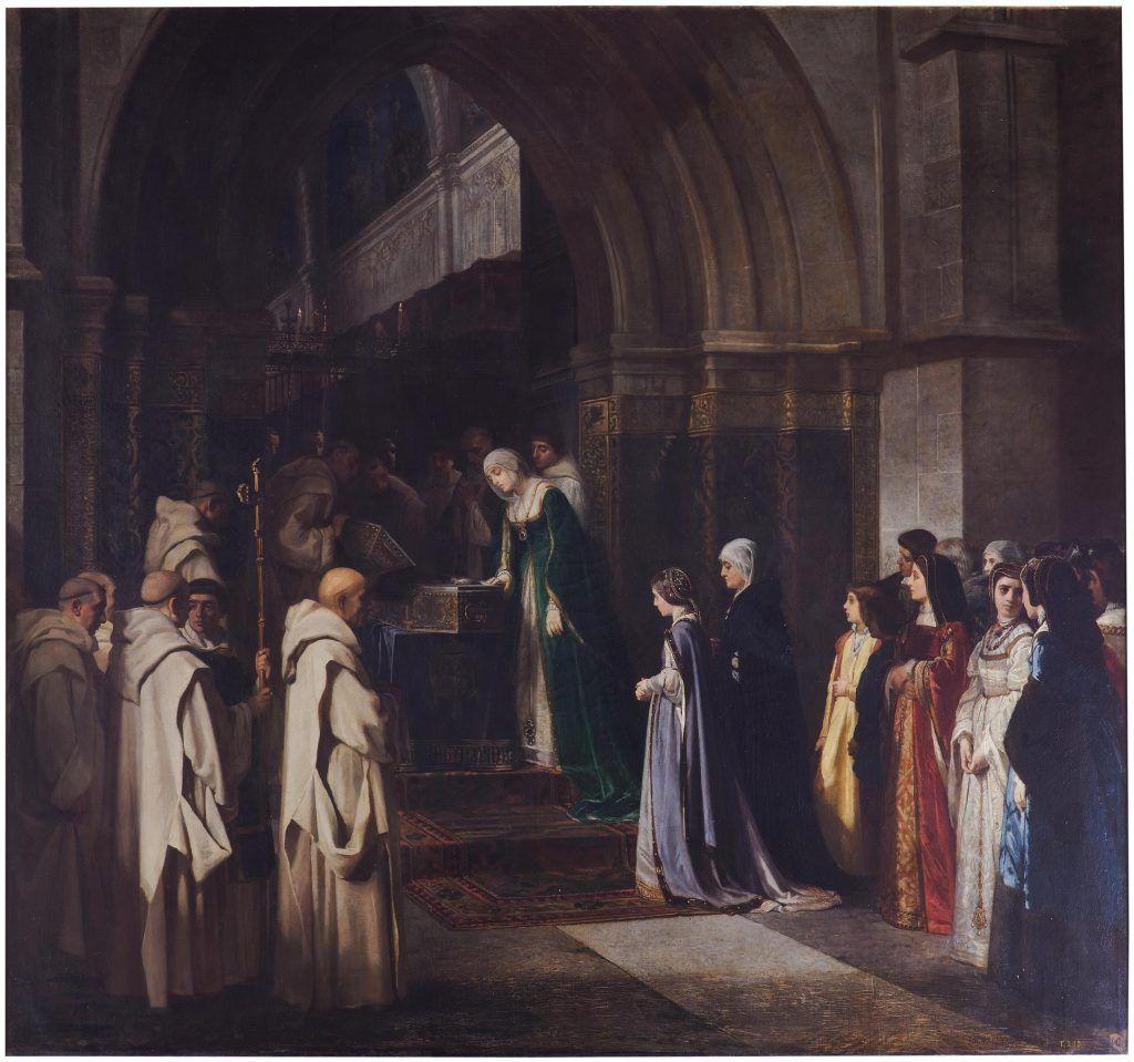 Lienzo en el Museo del Prado, que representa a Isabel la Católica, mirando el cadáver de su padre, Fernando II de Castilla, en la Cartuja de Miraflores. Pintor: Luis Álvarez.