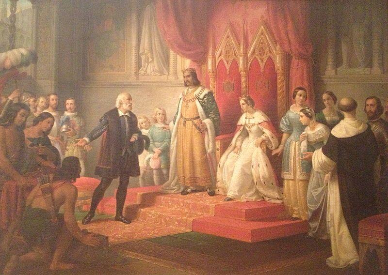 Pintura realizada en 1850 y que representa a Cristóbal Colón ante la Corte de los Reyes Católicos. Crédito: Clark Sui.