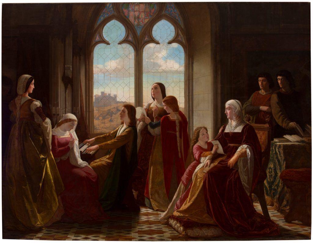 Lienzo del pintor Isidoro Santos, que representa a Isabel la Católica mientras observa las clases que reciben sus hijos. Se guarda en el Museo del Prado