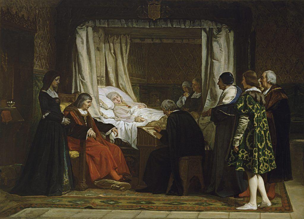 Lienzo que representa a Isabel la Católica en su lecho de muerte cuando dicta su testamento en presencia de su esposo, en Medina del Campo., en el año 1504. Este retrato se conserva en el Museo del Prado.