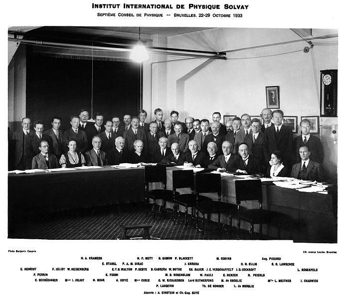 Conferencia Solvay 1933, en la cual participó Lisa Meitner. Crédito: Benjamín Couprie.
