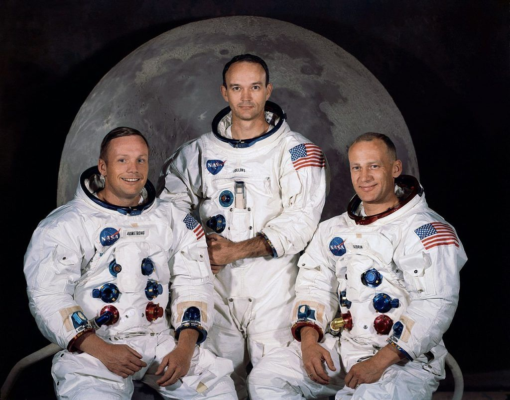 Neil Armstrong, Michael Collins y Edwin Aldrin, los tres astronautas que llegaron a la Luna en julio de 1969