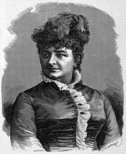 Emilia Pardo Bazán, 8 de abril de 1881. Dibujo de José Cuevas. Crédito: La ilustración gallega y asturiana.