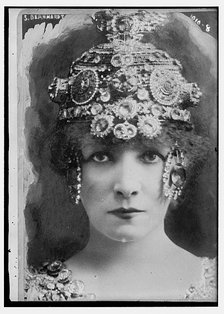 La famosa actriz Sarah Bernhart en agosto de1911. Crédito: Wikimedia. Bain Collection Library