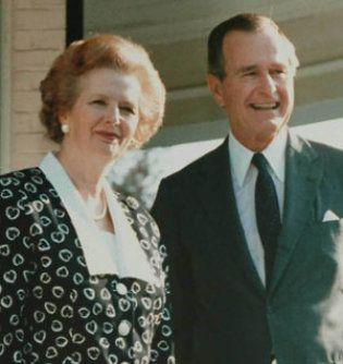 Margaret Thatcher y el Presidente Bush. Crédito: vanitatis.elconfidencial.com