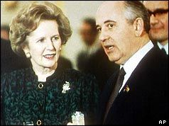 Margaret Thatcher y Mijail Gorbachov. Crédito: web cubadebate.cu