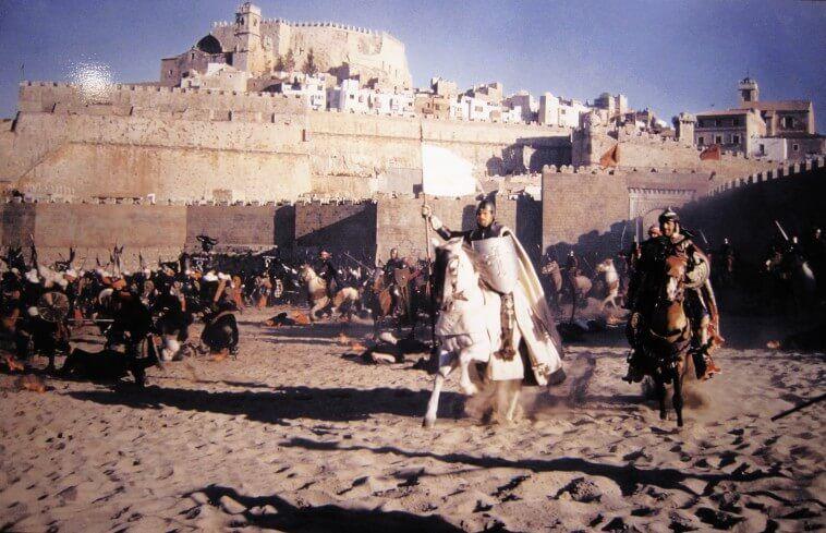"""Rodaje en Peñíscola, España, de la película épica """"El Cid"""". Crédito: web peñiscoladecine.com"""