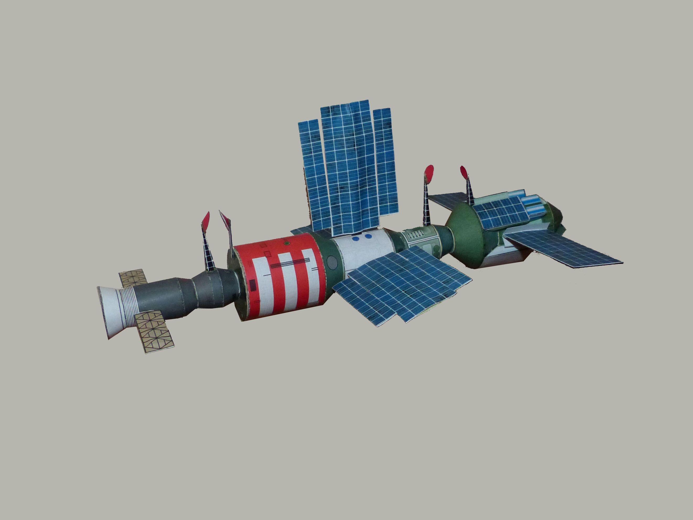 La estación espacial Salyut-7. Crédito: Wikimedia. Autor: Godal.