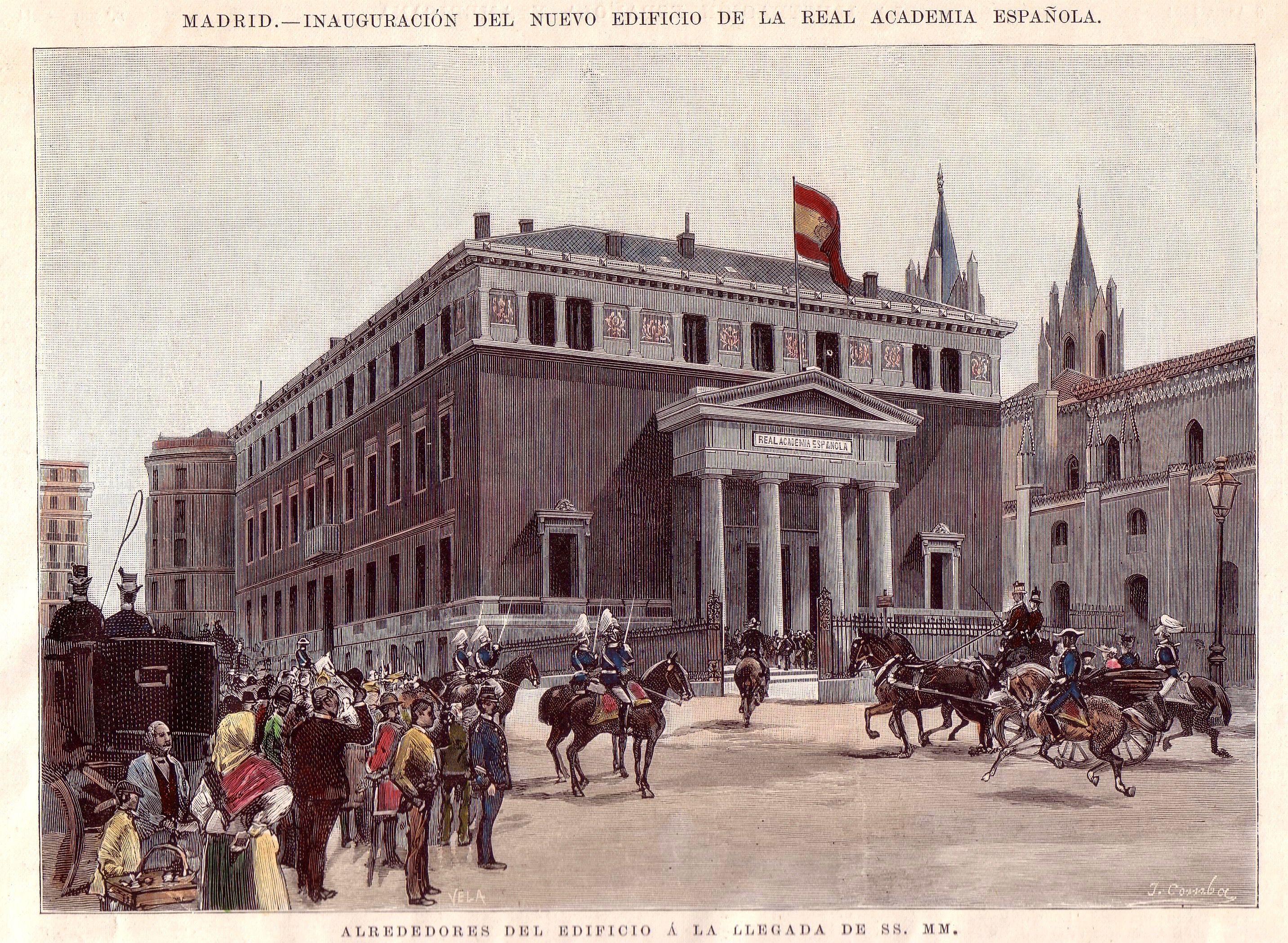 Inauguración del nuevo edificio de la Real Academia Española, en 1894. Crédito: autor Juan Comba. Web es.wikipedia.org
