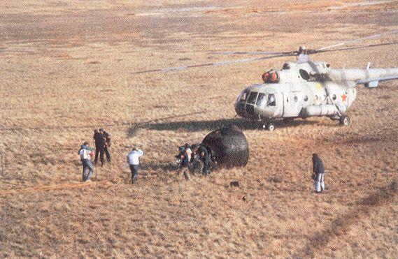 El regreso a la Tierra fue el 28 de mayo de 1991. Aterrizó en Kazajistán. Crédito: web austromir.at