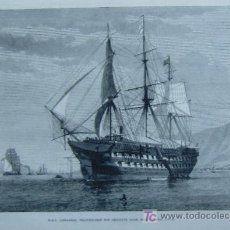 Grabado del barco trasatlántico francés l'Amérique. Crédito: web todocoleccion.net