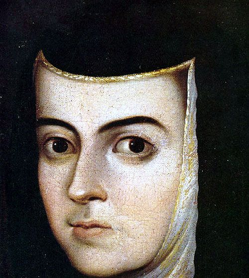 Detalle de la cara de Sor Juana Inés de la Cruz. Retrato realizado por fray Juan de Herrera. Crédito: web cervantesvirtual.com